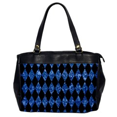 Diamond1 Black Marble & Blue Marble Oversize Office Handbag by trendistuff