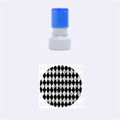 Diamond1 Black Marble & Blue Marble Rubber Stamp Round (small) by trendistuff