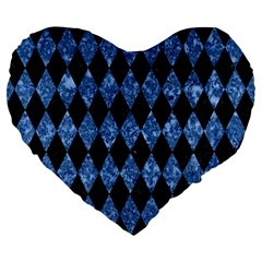 Diamond1 Black Marble & Blue Marble Large 19  Premium Flano Heart Shape Cushion by trendistuff