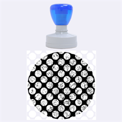 Circles2 Black Marble & Blue Marble (r) Rubber Stamp Round (large) by trendistuff