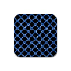 Circles2 Black Marble & Blue Marble Rubber Coaster (square) by trendistuff