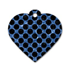 Circles2 Black Marble & Blue Marble Dog Tag Heart (one Side) by trendistuff