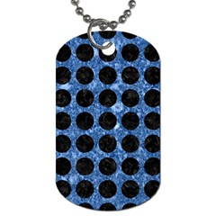 Circles1 Black Marble & Blue Marble Dog Tag (two Sides) by trendistuff