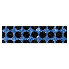 Circles1 Black Marble & Blue Marble Satin Scarf (oblong) by trendistuff