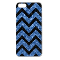 Chevron9 Black Marble & Blue Marble (r) Apple Seamless Iphone 5 Case (clear) by trendistuff