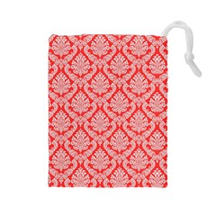Salmon Damask Drawstring Pouches (large)