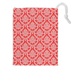 Salmon Damask Drawstring Pouches (xxl) by SalonOfArtDesigns