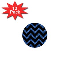Chevron9 Black Marble & Blue Marble 1  Mini Button (10 Pack)  by trendistuff