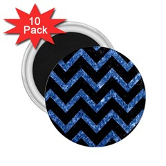 Chevron9 Black Marble & Blue Marble 2 25  Magnet (10 Pack) by trendistuff