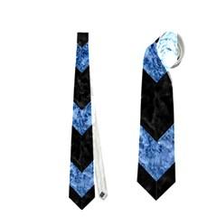 Chevron9 Black Marble & Blue Marble Necktie (two Side)