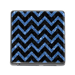 Chevron9 Black Marble & Blue Marble Memory Card Reader (square) by trendistuff