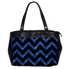 Chevron9 Black Marble & Blue Marble Oversize Office Handbag by trendistuff