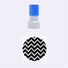 Chevron9 Black Marble & Blue Marble Rubber Stamp Round (small) by trendistuff