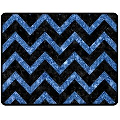 Chevron9 Black Marble & Blue Marble Double Sided Fleece Blanket (medium)