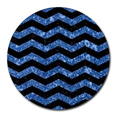 CHV3 BK-BL MARBLE Round Mousepads by trendistuff