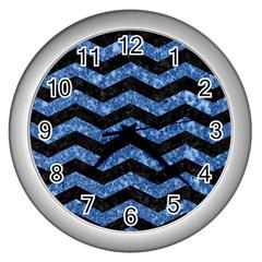 Chevron3 Black Marble & Blue Marble Wall Clock (silver) by trendistuff