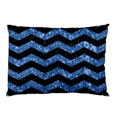 Chevron3 Black Marble & Blue Marble Pillow Case by trendistuff