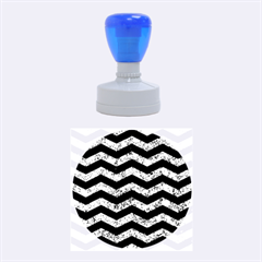 Chevron3 Black Marble & Blue Marble Rubber Stamp Round (medium)