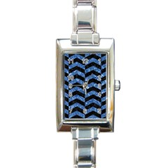 Chevron2 Black Marble & Blue Marble Rectangle Italian Charm Watch by trendistuff