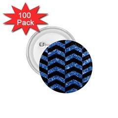 Chevron2 Black Marble & Blue Marble 1 75  Button (100 Pack)  by trendistuff