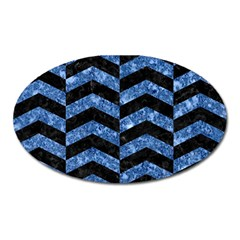 Chevron2 Black Marble & Blue Marble Magnet (oval) by trendistuff