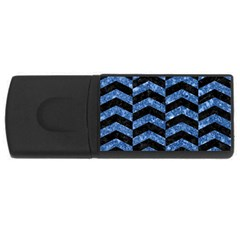 Chevron2 Black Marble & Blue Marble Usb Flash Drive Rectangular (4 Gb) by trendistuff