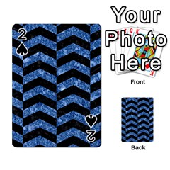 Chevron2 Black Marble & Blue Marble Playing Cards 54 Designs