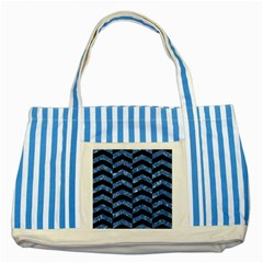 Chevron2 Black Marble & Blue Marble Striped Blue Tote Bag by trendistuff