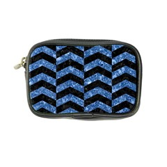 Chevron2 Black Marble & Blue Marble Coin Purse by trendistuff