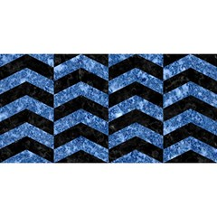 Chevron2 Black Marble & Blue Marble You Are Invited 3d Greeting Card (8x4)