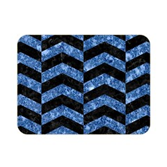 Chevron2 Black Marble & Blue Marble Double Sided Flano Blanket (mini) by trendistuff