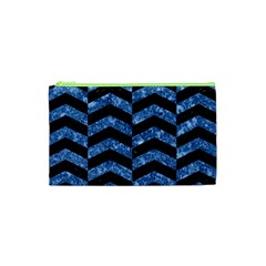 Chevron2 Black Marble & Blue Marble Cosmetic Bag (xs) by trendistuff