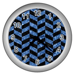 Chevron1 Black Marble & Blue Marble Wall Clock (silver) by trendistuff