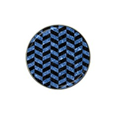 Chevron1 Black Marble & Blue Marble Hat Clip Ball Marker (10 Pack) by trendistuff