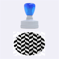 Chevron1 Black Marble & Blue Marble Rubber Stamp Oval