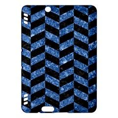 Chevron1 Black Marble & Blue Marble Kindle Fire Hdx Hardshell Case by trendistuff
