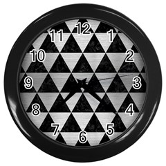 Triangle3 Black Marble & Silver Brushed Metal Wall Clock (black) by trendistuff