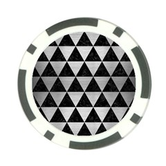 Triangle3 Black Marble & Silver Brushed Metal Poker Chip Card Guard by trendistuff