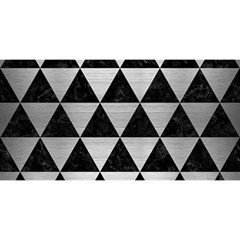 Triangle3 Black Marble & Silver Brushed Metal You Are Invited 3d Greeting Card (8x4) by trendistuff