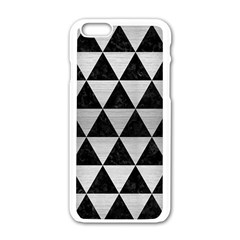 Triangle3 Black Marble & Silver Brushed Metal Apple Iphone 6/6s White Enamel Case by trendistuff