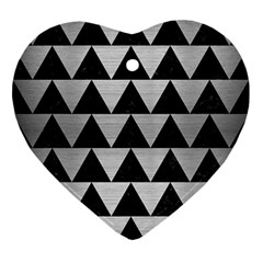 Triangle2 Black Marble & Silver Brushed Metal Ornament (heart) by trendistuff