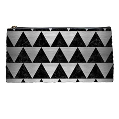 Triangle2 Black Marble & Silver Brushed Metal Pencil Case by trendistuff