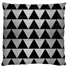 Triangle2 Black Marble & Silver Brushed Metal Large Cushion Case (one Side) by trendistuff