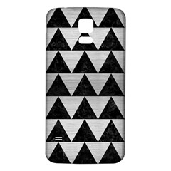 Triangle2 Black Marble & Silver Brushed Metal Samsung Galaxy S5 Back Case (white) by trendistuff