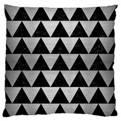 Triangle2 Black Marble & Silver Brushed Metal Standard Flano Cushion Case (one Side) by trendistuff