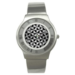 Triangle1 Black Marble & Silver Brushed Metal Stainless Steel Watch by trendistuff