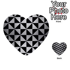 Triangle1 Black Marble & Silver Brushed Metal Multi Purpose Cards (heart) by trendistuff