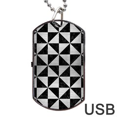 Triangle1 Black Marble & Silver Brushed Metal Dog Tag Usb Flash (one Side) by trendistuff