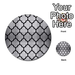 Tile1 Black Marble & Silver Brushed Metal (r) Multi Purpose Cards (round)