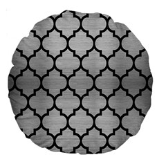 Tile1 Black Marble & Silver Brushed Metal (r) Large 18  Premium Round Cushion  by trendistuff